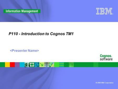 © 2008 IBM Corporation P110 - Introduction to Cognos TM1.