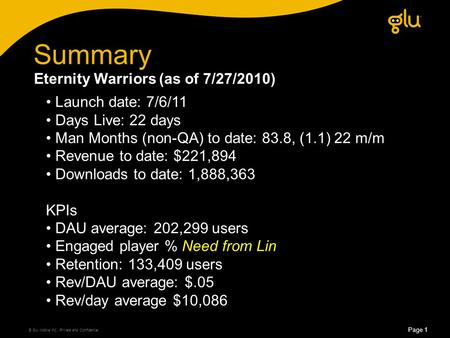 Summary © Glu Mobile Inc., Private and Confidential Page 1 Launch date: 7/6/11 Days Live: 22 days Man Months (non-QA) to date: 83.8, (1.1) 22 m/m Revenue.