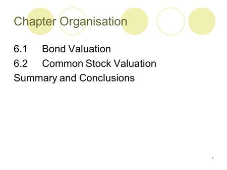 1 6.1 Bond Valuation 6.2 Common Stock Valuation Summary and Conclusions Chapter Organisation.