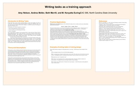 Introduction to Writing Tasks Writing tasks refer to those activities requiring students to capture their thoughts in the form of written word. These tasks.