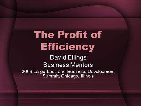 The Profit of Efficiency David Ellings Business Mentors 2009 Large Loss and Business Development Summit, Chicago, Illinois.