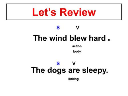 The dogs are sleepy. V S The wind blew hard V S action linking body. Let's Review.