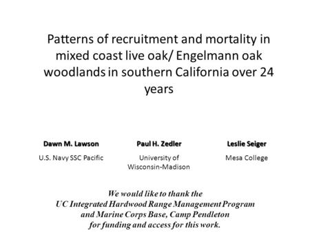 Patterns of recruitment and mortality in mixed coast live oak/ Engelmann oak woodlands in southern California over 24 years Dawn M. Lawson U.S. Navy SSC.