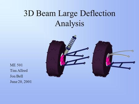 3D Beam Large Deflection Analysis ME 501 Tim Allred Jon Bell June 20, 2001.