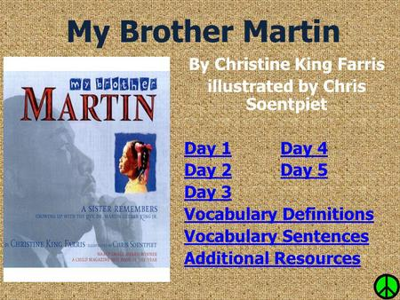 My Brother Martin By Christine King Farris illustrated by Chris Soentpiet Day 1Day 1 Day 4Day 4 Day 2Day 2 Day 5Day 5 Day 3 Vocabulary Definitions Vocabulary.