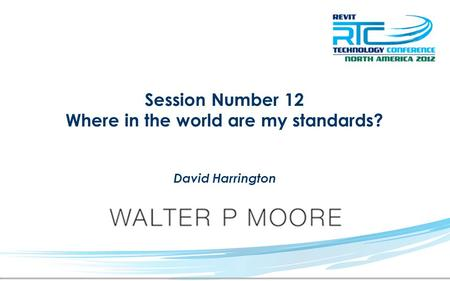 Session Number 12 Where in the world are my standards? David Harrington.