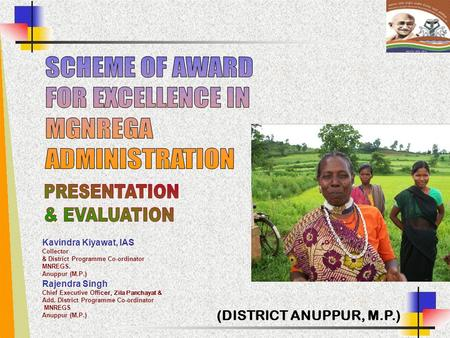 SCHEME OF AWARD FOR EXCELLENCE IN MGNREGA ADMINISTRATION PRESENTATION