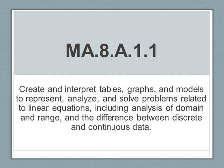 MA.8.A.1.1 Create and interpret tables, graphs, and models to represent, analyze, and solve problems related to linear equations, including analysis of.