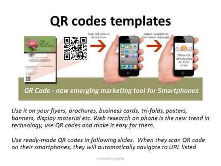 QR codes templates Use it on your flyers, brochures, business cards, tri-folds, posters, banners, display material etc. Web research on phone is the new.