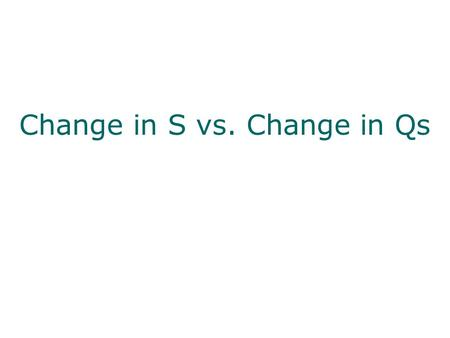 Change in S vs. Change in Qs. Change in Quantity Supplied  This is a movement ALONG the curve resulting from a change in price  As prices change, producers.