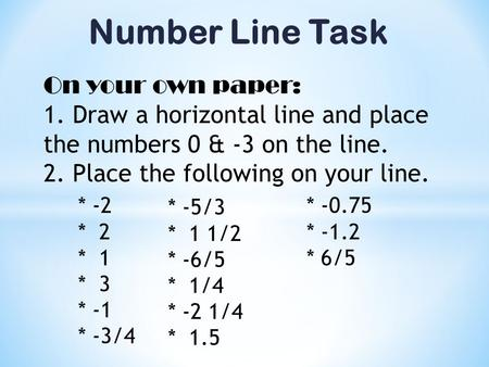 Number Line Task On your own paper: 1. Draw a horizontal line and place the numbers 0 & -3 on the line. 2. Place the following on your line. * -2 * 2 *