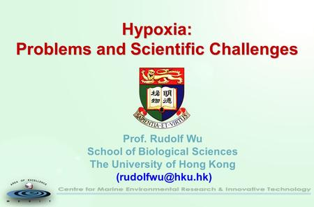 Hypoxia: Problems and Scientific Challenges Hypoxia: Problems and Scientific Challenges Prof. Rudolf Wu School of Biological Sciences The University of.