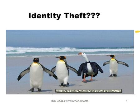 ICC Codes w/WI Amendments1 Identity Theft???. ICC Codes w/WI Amendments2.