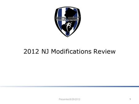 2012 NJ Modifications Review Presented 8/29/2012 1.