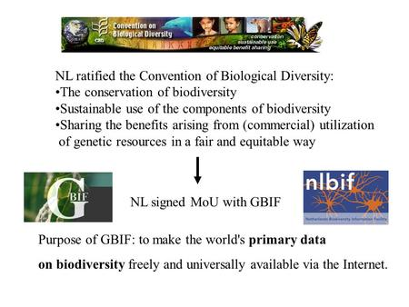 NL ratified the Convention of Biological Diversity: The conservation of biodiversity Sustainable use of the components of biodiversity Sharing the benefits.