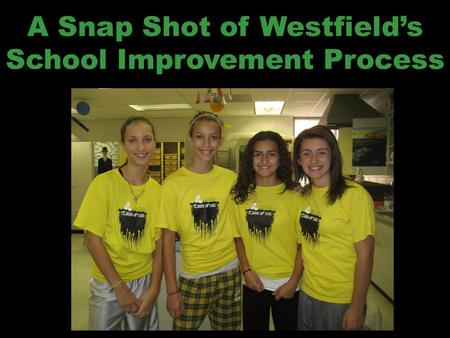 A Snap Shot of Westfield's School Improvement Process.