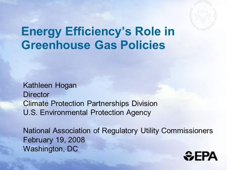 Energy Efficiency's Role in Greenhouse Gas Policies