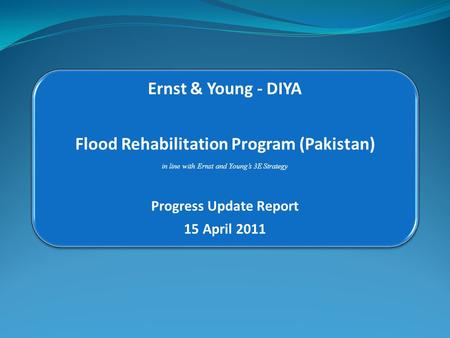 Ernst & Young - DIYA Flood Rehabilitation Program (Pakistan) in line with Ernst and Young's 3E Strategy Progress Update Report 15 April 2011.
