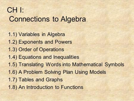 CH I: Connections to Algebra 1.1) Variables in Algebra 1.2) Exponents and Powers 1.3) Order of Operations 1.4) Equations and Inequalities 1.5) Translating.