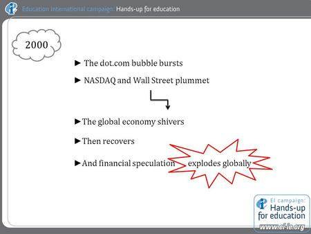 ► The dot.com bubble bursts ► NASDAQ and Wall Street plummet ► The global economy shivers ► Then recovers ► And financial speculation explodes globally.