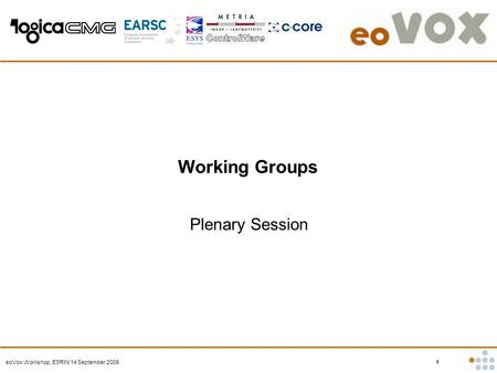 EoVox Workshop, ESRIN 14 September 2006 1 Working Groups Plenary Session.