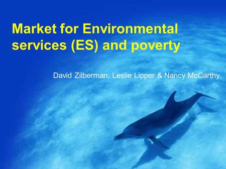Market for Environmental services (ES) and poverty David Zilberman, Leslie Lipper & Nancy McCarthy.