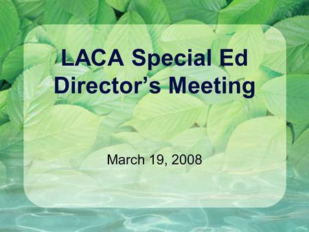 LACA Special Ed Director's Meeting March 19, 2008.