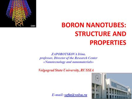 BORON NANOTUBES: STRUCTURE AND PROPERTIES ZAPOROTSKOVA Irina, professor, Director of the Research Center «Nanotecnology and nanomaterials» Volgograd State.
