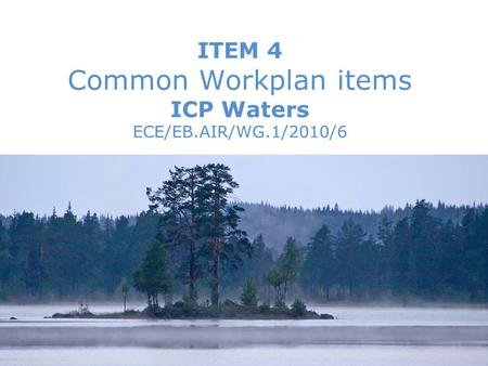 WGE 29th session, September 2010 1Brit Lisa Skjelkvåle ITEM 4 Common Workplan items ICP Waters ECE/EB.AIR/WG.1/2010/6.
