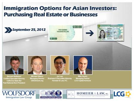 Overview of Presentation: EB-5: The Basics Individuals who might consider EB-5 Direct vs. Regional Center Regional Center Entities How to create a Regional.