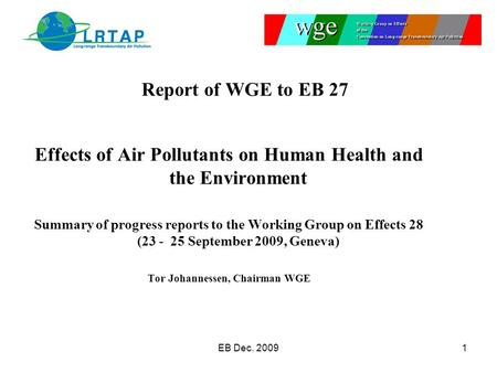 Effects of Air Pollutants on Human Health and the Environment Summary of progress reports to the Working Group on Effects 28 (23 - 25 September 2009, Geneva)