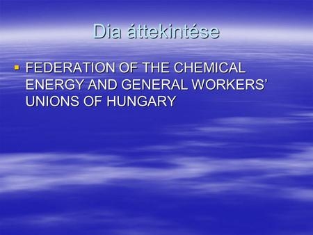 Dia áttekintése  FEDERATION OF THE CHEMICAL ENERGY AND GENERAL WORKERS' UNIONS OF HUNGARY.