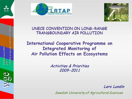 UNECE CONVENTION ON LONG-RANGE TRANSBOUNDARY AIR POLLUTION International Cooperative Programme on Integrated Monitoring of Air Pollution Effects on Ecosystems.