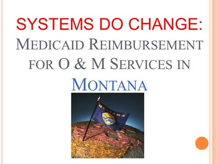 SYSTEMS DO CHANGE: M EDICAID R EIMBURSEMENT FOR O & M S ERVICES IN M ONTANA.
