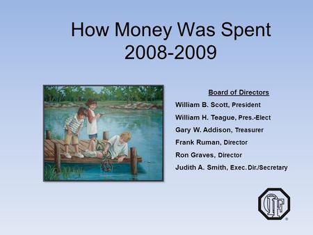 How Money Was Spent 2008-2009 Board of Directors William B. Scott, President William H. Teague, Pres.-Elect Gary W. Addison, Treasurer Frank Ruman, Director.