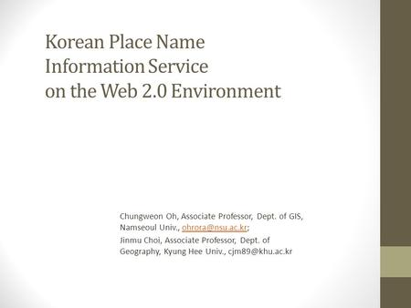 Korean Place Name Information Service on the Web 2.0 Environment