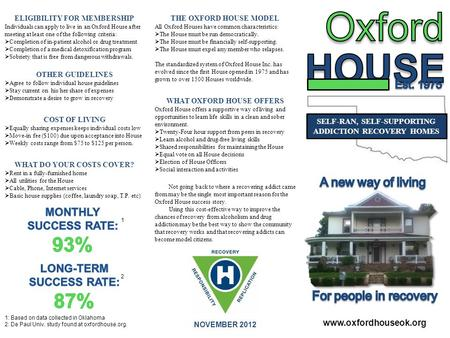 SELF-RAN, SELF-SUPPORTING ADDICTION RECOVERY HOMES NOVEMBER 2012 THE OXFORD HOUSE MODEL All Oxford Houses have common characteristics:  The House must.