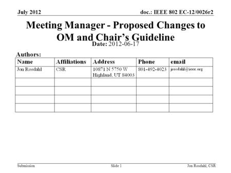 Doc.: IEEE 802 EC-12/0026r2 Submission July 2012 Jon Rosdahl, CSRSlide 1 Meeting Manager - Proposed Changes to OM and Chair's Guideline Date: 2012-06-17.