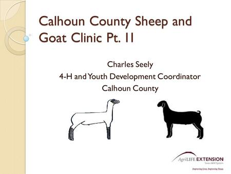 Calhoun County Sheep and Goat Clinic Pt. 1I Charles Seely 4-H and Youth Development Coordinator Calhoun County.