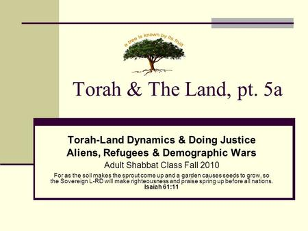 Torah & The Land, pt. 5a Torah-Land Dynamics & Doing Justice Aliens, Refugees & Demographic Wars Adult Shabbat Class Fall 2010 For as the soil makes the.