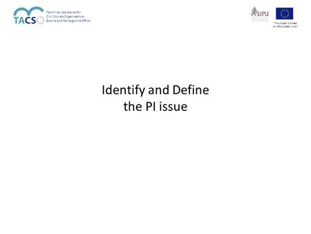 Identify and Define the PI issue Technical Assistance for Civil Society Organisations Bosnia and Herzegovina Office This project is funded by the European.