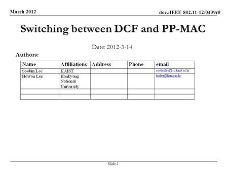 Doc.:IEEE 802.11-12/0439r0 March 2012 Switching between DCF and PP-MAC Date: 2012-3-14 Slide 1 Authors: