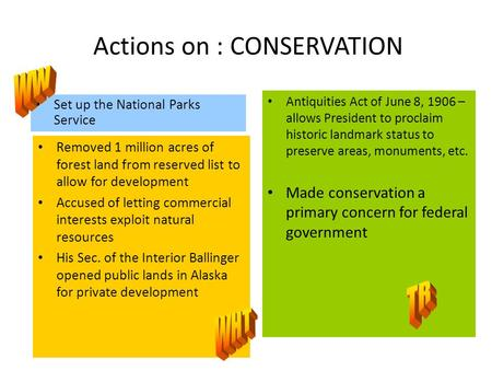 Actions on : CONSERVATION Set up the National Parks Service Removed 1 million acres of forest land from reserved list to allow for development Accused.
