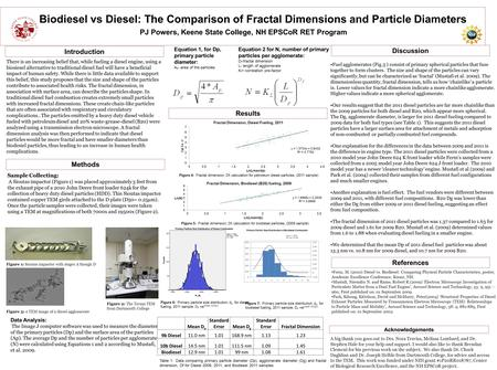 Biodiesel vs Diesel: The Comparison of Fractal Dimensions and Particle Diameters PJ Powers, Keene State College, NH EPSCoR RET Program There is an increasing.