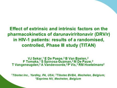 Effect of extrinsic and intrinsic factors on the pharmacokinetics of darunavir/ritonavir (DRV/r) in HIV-1 patients: results of a randomised, controlled,