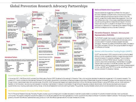 Global Prevention Research Advocacy Partnerships Good Participatory Practice Initiative In November 2007, UNAIDS and AVAC published Good Participatory.