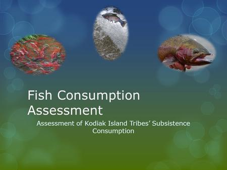 Fish Consumption Assessment Assessment of Kodiak Island Tribes' Subsistence Consumption.