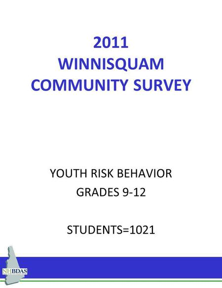 2011 WINNISQUAM COMMUNITY SURVEY YOUTH RISK BEHAVIOR GRADES 9-12 STUDENTS=1021.