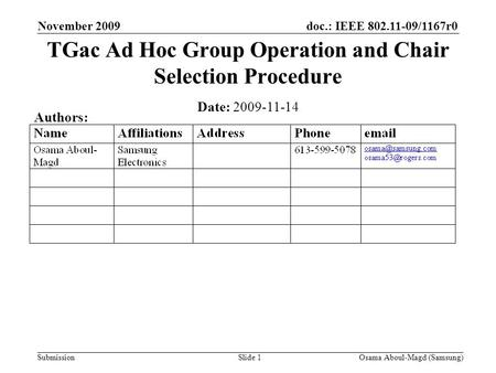 Doc.: IEEE 802.11-09/1167r0 Submission November 2009 Osama Aboul-Magd (Samsung)Slide 1 TGac Ad Hoc Group Operation and Chair Selection Procedure Date:
