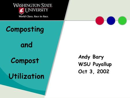 Composting and Compost Utilization Andy Bary WSU Puyallup Oct 3, 2002.